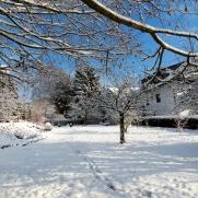 Gartenansicht von Süden im Winter